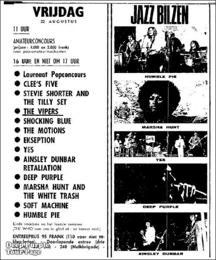 Jazz Bilzen Festival Program for August 22. Lists Clee's Five, Stevie Shorter and the Tilly Set, The Vipers, Shocking Blue, The Motions, Ekseption, Yes (who cancelled), Ainsley Dunbar Retaliation, Deep Purple, Marsha Hunt and the White Trash, Soft Machine, and Humble Pie.
